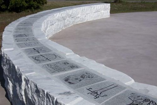"Public Sculptures by Joe Segal seen at Dr Robert B. Hayling Freedom Park, St. Augustine - ""Toward"", Sculptural Bench"