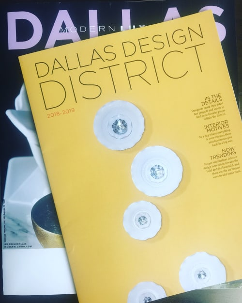 Sculptures by Lucrecia Waggoner at Cover of Dallas Desing District Magazine, Dallas - DANCING WITH IN