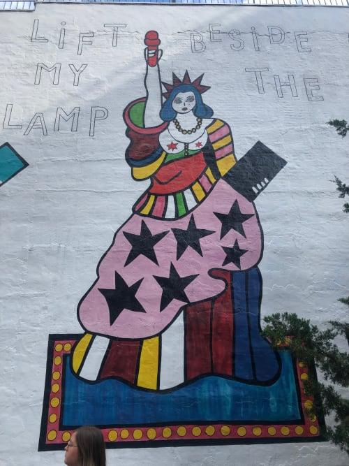 Murals by Dorothy Iannone seen at High Line Open Studios, New York - I Lift My Lamp Beside the Golden Door