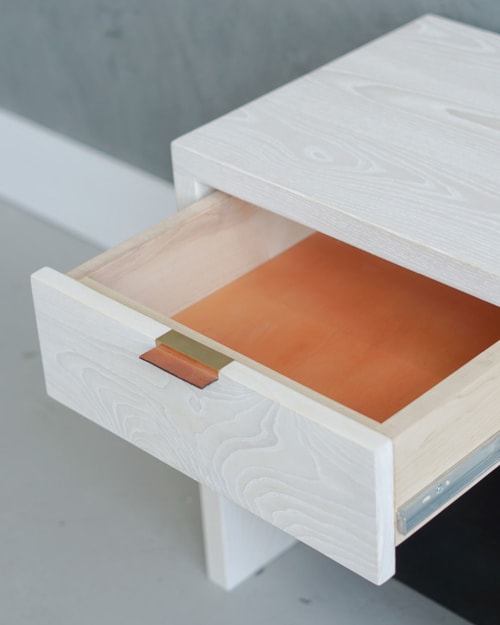 Furniture by Ordinal Indicator seen at Ordinal Indicator Studio, The Bronx - Bleached Ash Nightstand