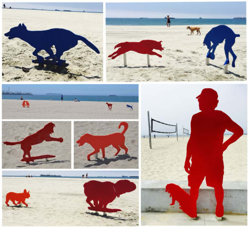 Public Sculptures by Karena Massengill seen at Belmont Shore, Long Beach - Rosie's Dog Beach