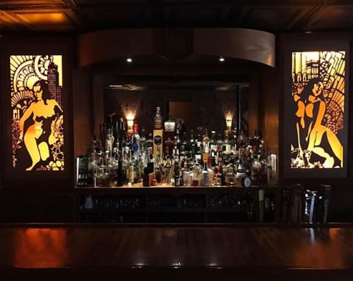 Interior Design by Christian Thomas Designs seen at The Avery, Providence - THE AVERY BAR- Custom Made Hidden Top Shelf Cabinet & side bar top
