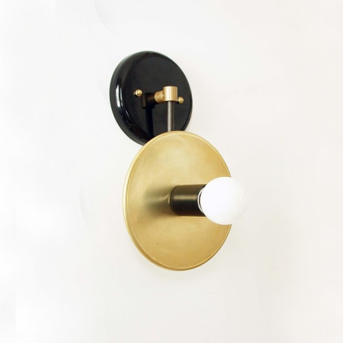 Sconces by DLdesignworks LLC seen at Private Residence - Brooklyn, Brooklyn - Brass and Black Sconce