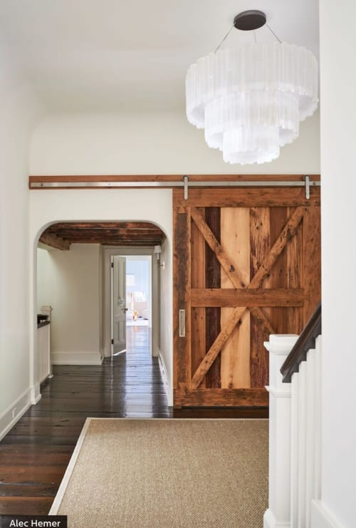 Lighting Design by Ron Dier Design seen at Private Residence, East Hampton - Alec and Hilaria's Baldwin East Hampton home hallway Chandelier
