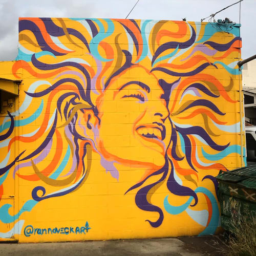 Murals by Ran Noveck seen at Kaka'ako, Honolulu - Sunshine