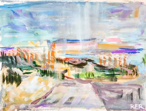 Paintings by Rachel Elizabeth Design seen at Private Residence, Charleston - Sunset at Sullivans