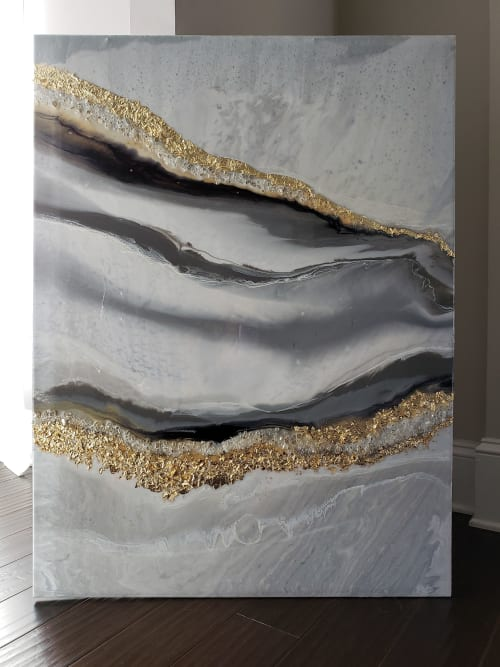 Paintings by Grace Re seen at Private Residence, Charlotte - Golden Waves Druzy