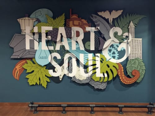 Sculptures by Sarah Robbins seen at Capital One Café, Seattle - Heart & Soul