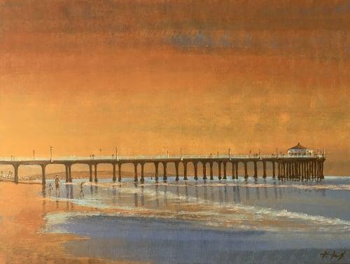 Paintings by Kathleen Keifer seen at Creator's Studio, Manhattan Beach - Golden Manhattan Beach Pier Memories