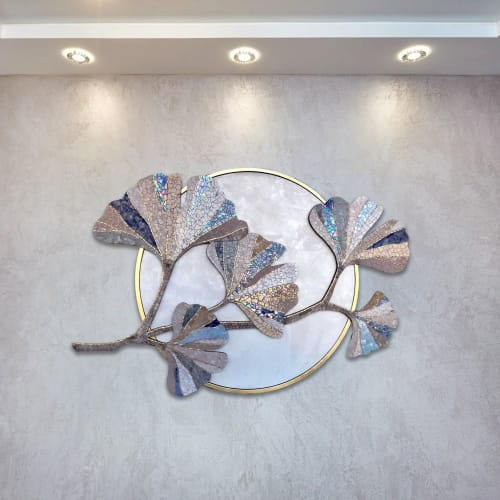 Art & Wall Decor by Julia Gorbunova seen at Private Residence, Tyumen - Ginkgo branch mosaic wall art