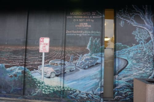 """Murals by Los Dos Streetscapers/East Los Streetscapers seen at Culver City DMV, Los Angeles - Moonscapes 4 """"Space Program USA/LA Reentry"""""""