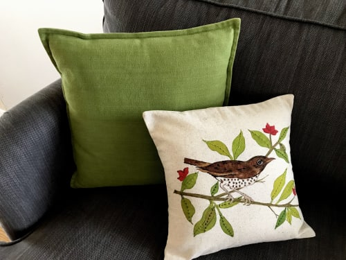 Pillows by KRUPA PARANJAPE seen at Private Residence, Mountain View - Wood thrush pillow