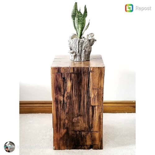 Furniture by Barnboardstore seen at Private Residence, Toronto - Reclaimed Barn Beam Cube