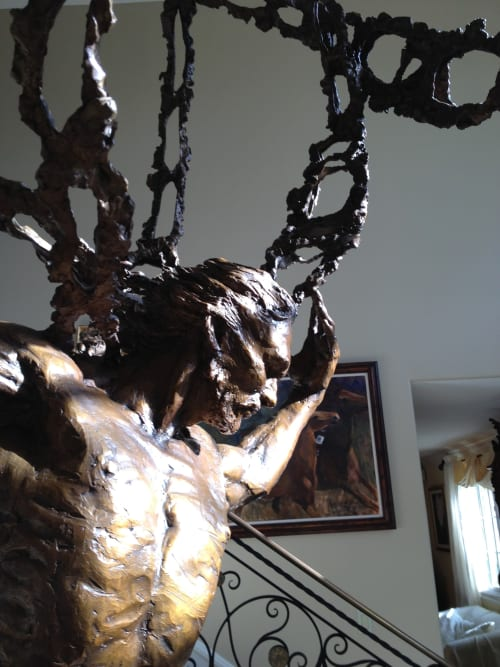 """Sculptures by Cinthia Joyce Fine Arts seen at Private Residence, Manhattan Beach - """"Atlas Uplifting the Cosmos"""""""