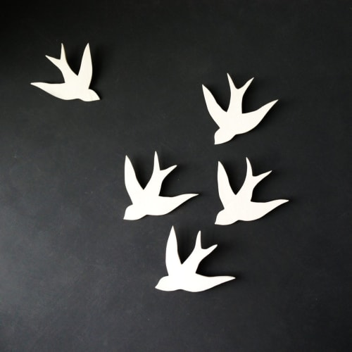 Art & Wall Decor by Elizabeth Prince Ceramics seen at Creator's Studio, Manchester - Set of 5 Swallows in Flight White Porcelain