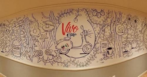 Murals by Hugus seen at 242 Glen Cove Ave, Glen Cove - Vivo Osteria
