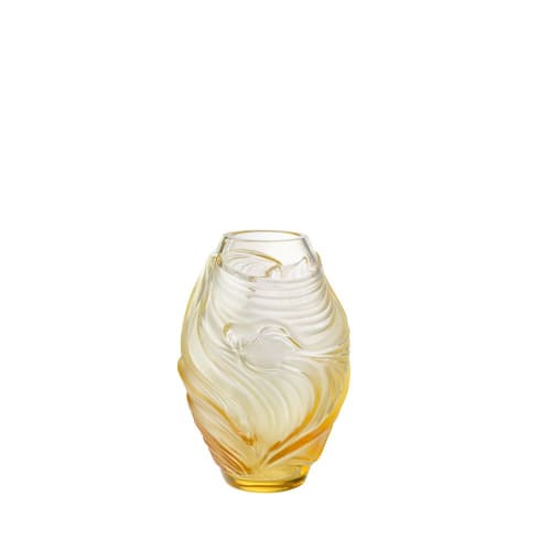 Vases & Vessels by Lalique seen at LALIQUE - Rue Royale, Paris - Poissons Combattants Small Vase - Amber Crystal