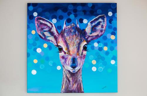 "Paintings by Maya Corona seen at Private Residence, Calgary - SYLVESTER ""THE CALF ANTELOPE"""