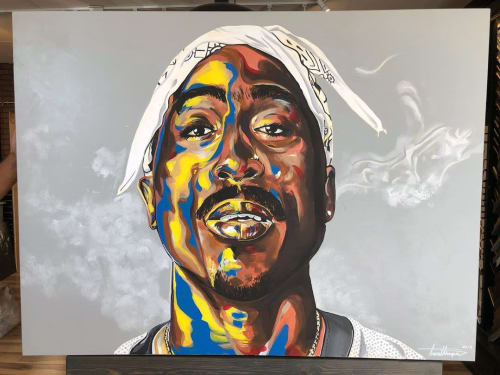 Paintings by Trent Thompson seen at Private Residence, Pleasanton - Kobe + Tupac + Jay z
