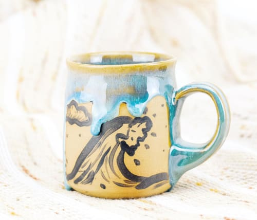 Cups by Julo Pottery Co. seen at Private Residence - Ceramic Wave Mug