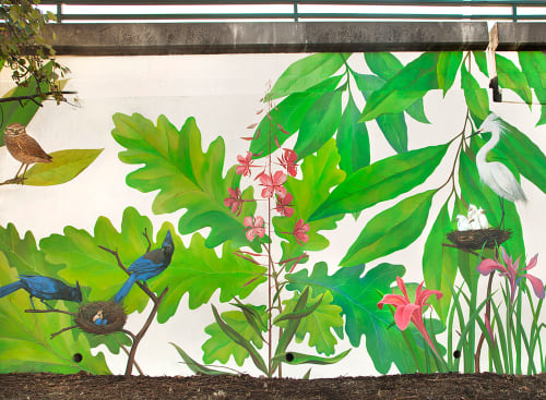 "Street Murals by Yulia Avgustinovich seen at Oakland, Oakland - Mural ""Native Birds and Plants of Northern California"""