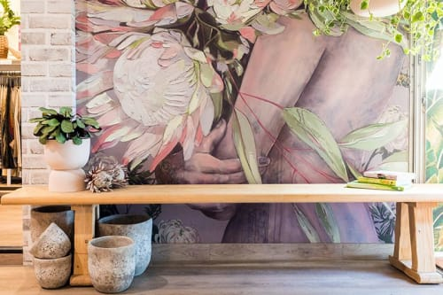 """Murals by Jessica Watts seen at 36 Ashmore Rd, Bundall - """"King Sugarbush and His Queen"""" Mural Install"""