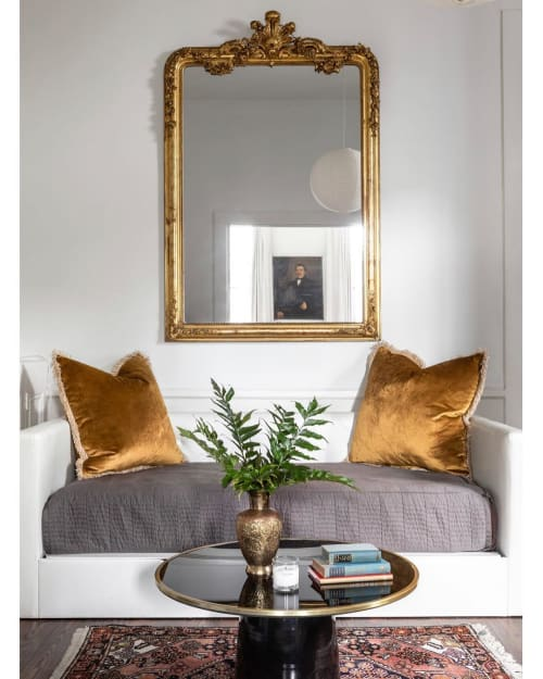 Pillows by Lauren Williams seen at Private Residence, New Orleans - Velvet Yellow Gold Square Pillows