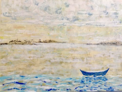 Paintings by willa vennema seen at Rockland, Rockland - Boat Series: Blue Boat at Rest