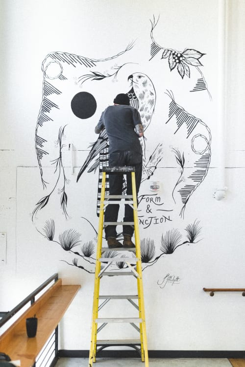 Murals by Jess Mudgett seen at Form & Function, Boise - Mural at Form & Function Coffee Shop