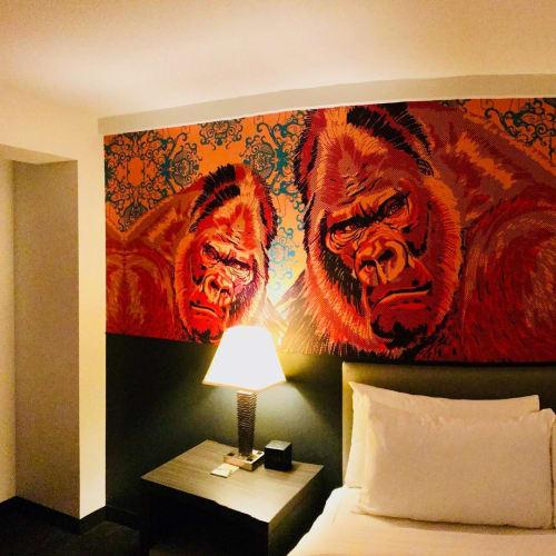 Murals by Jay LaCouture seen at Studio Allston Hotel, Boston - Gorillaz