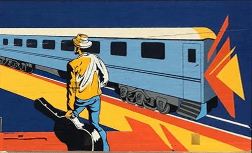 Murals by The Artist SEVEN seen at Passenger Flats, Chattanooga - Traveling Man