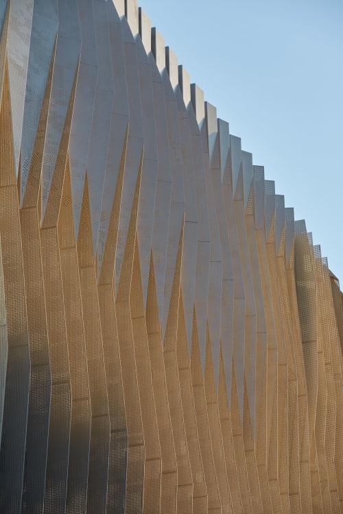 Public Art by Forlano Design seen at Subiaco, Subiaco - Peeling back the Layers (aluminium sun shades/ fins)