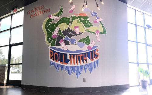 Murals by Daren Lin 大任物 seen at Zero Degrees - Ice Cream Rolls, Gainesville - Roll with Us