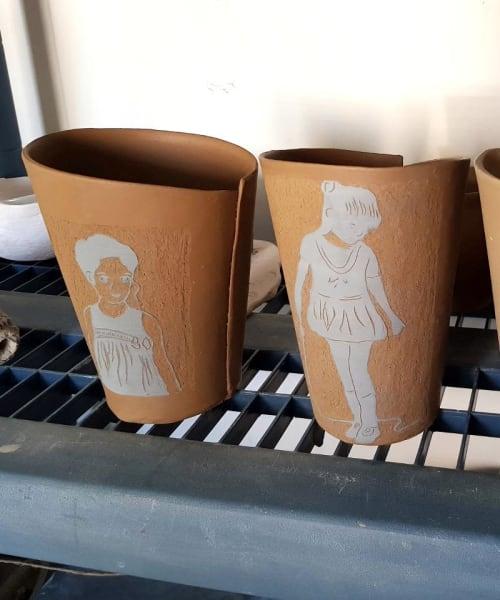 Vases & Vessels by ShellyClayspot seen at Creator's Studio, Kiryat Gat - Custom Terracotta Portrait Planter