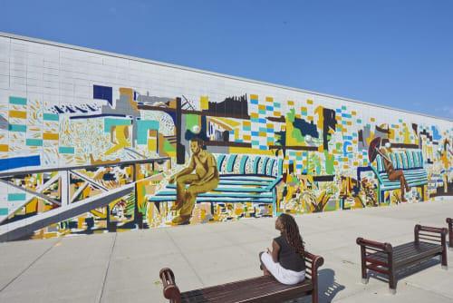 """Murals by Marie E. Saint-Cyr seen at 358 N Broadway, Hicksville - """"Broadway Mall Mural"""""""