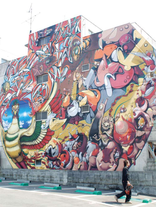 Murals by Imaone seen at Hiroshima, Hiroshima - The Garden Ship