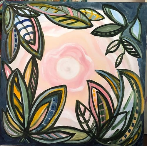 Morning Moon | Paintings by Debbie Daise Art    @Debbiedaiseart | Ambella Home Collect Corporate in Dallas