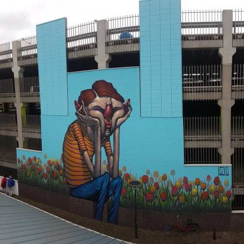 Street Murals by Bozko seen at Parkeergarage De Klanderij, Leeuwarden - Tullips