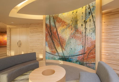 """Public Mosaics by Guy Kemper seen at Tempur Sealy International, Inc., Lexington - Mosaics for Tempur-Sealy World Headquarters, """"After the Storm"""" and """"Rise and Shine""""."""