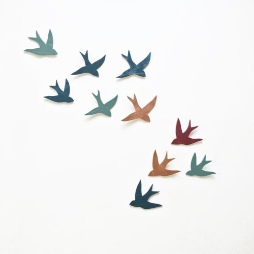 Art & Wall Decor by Elizabeth Prince Ceramics seen at Creator's Studio, Manchester - Flock 10 Ceramic Wall Art Swallows