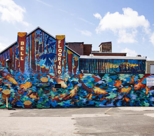 Murals by Frank Hyder Studios seen at Bell Floor Covering, Philadelphia - Bell's Pond mural