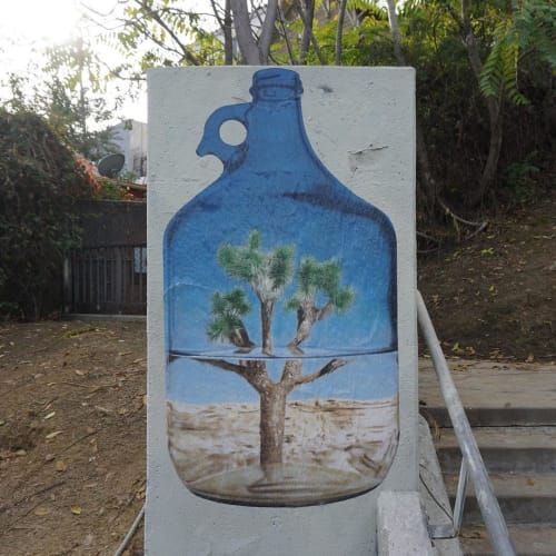 "Street Murals by No Touching Ground seen at Private Residence, Los Angeles - ""Staring at the desert through a half full jug of water"""