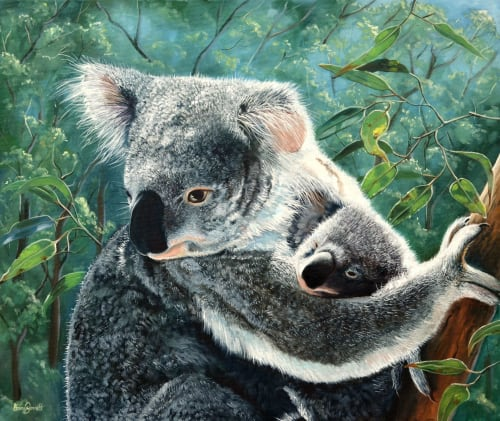 Paintings by Ebony Bennett - Birdwood Illustrations seen at Aarwun Gallery, Canberra - Koala and Baby - 'A Mothers' Love'