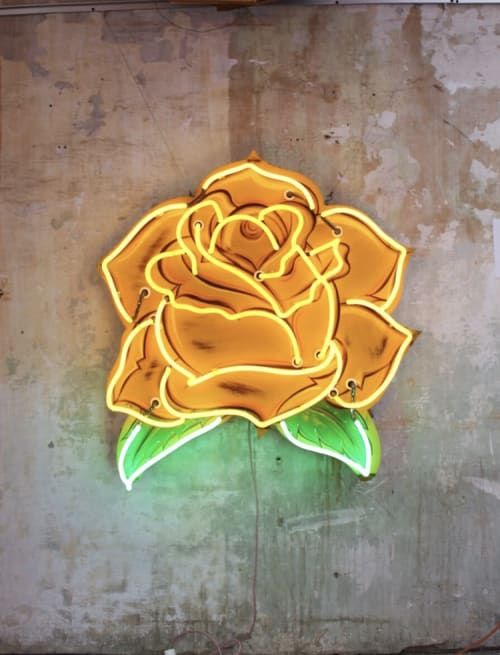 Art & Wall Decor by Todd Sanders seen at Private Residence, Burton - Yellow Rose neon
