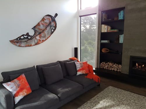 Sculptures by Liz McAuliffe seen at Private Residence, Kaukapakapa - Gondwana leaf sculpture