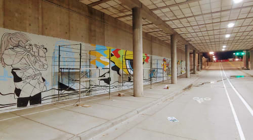 Street Murals by Matt Monsoon seen at Salt Palace Convention Center, Salt Lake City - 'The Salt Palace Subway' Mural