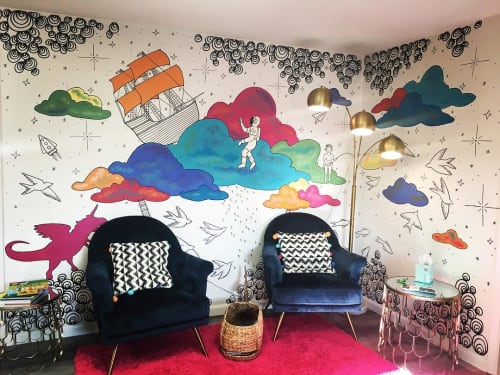 Murals by Avery Orendorf at Figment Creative Labs, Austin - Interior Mural