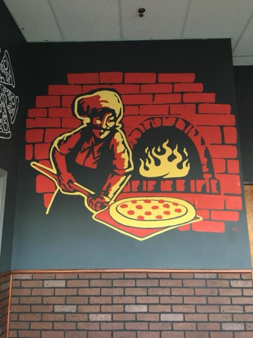 Murals by Anthony Lee seen at Value Pizzeria & Deli, Detroit - Value Pizzeria Mural & Signage