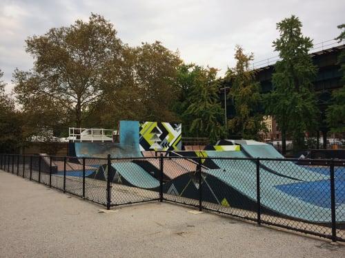 Street Murals by LAMKAT seen at Mullaly Skate Park, Bronx - MULLALY BIKEPARK