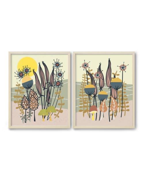 Paintings by Birdsong Prints - Mid Century Wall Art Prints, Folk Art Set